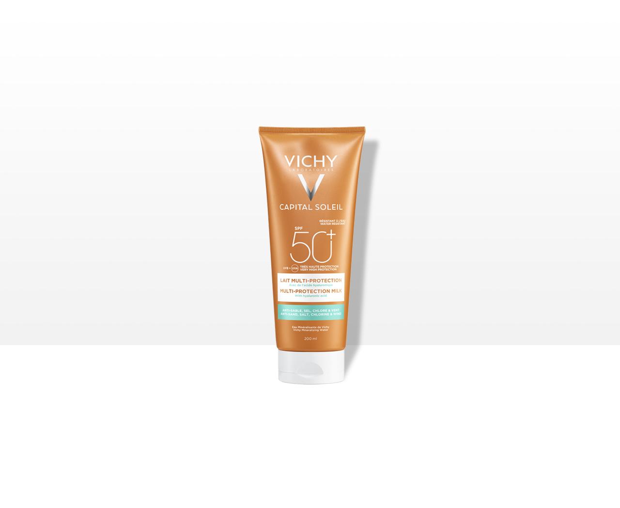 Multi-protekční hydratační mléko. Ochrana proti písku, soli, chloru, větru SPF 50+Velmi vysoká ochrana