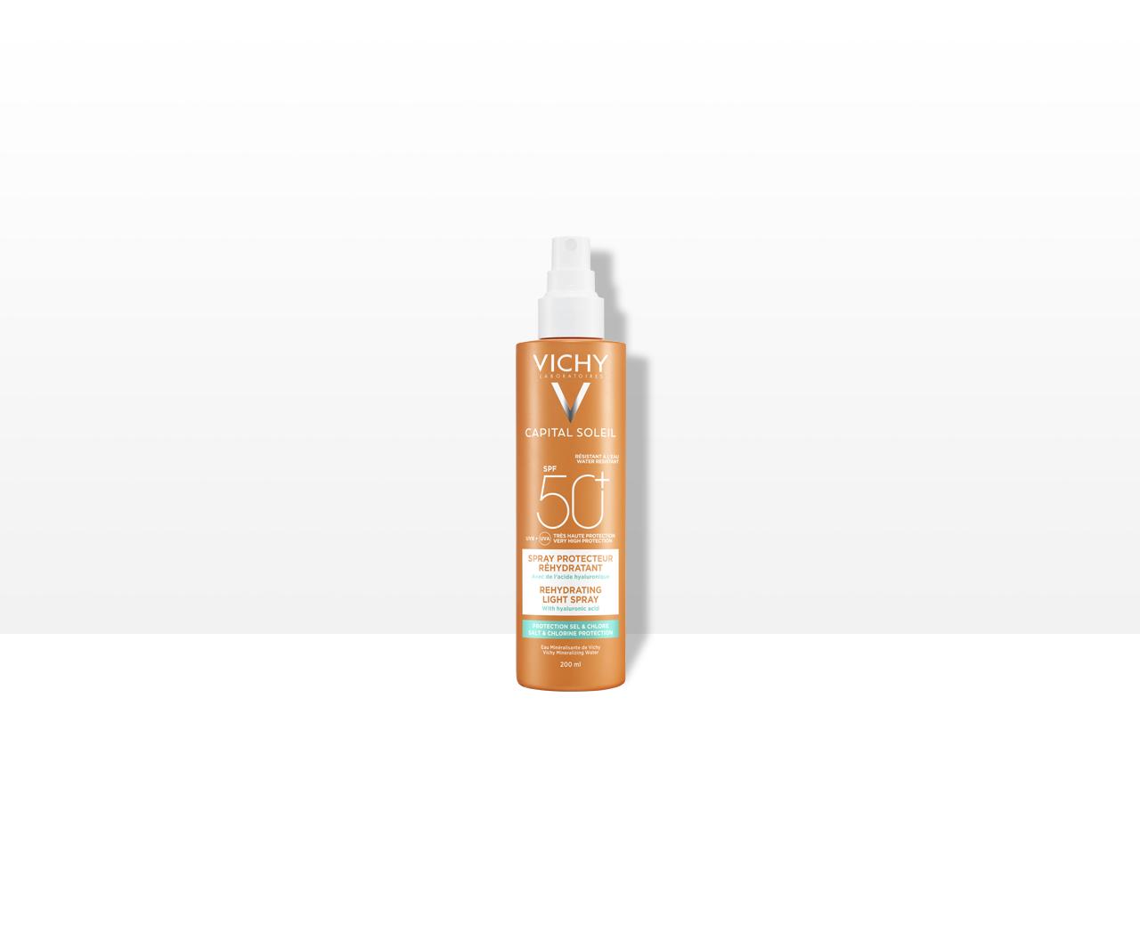Multi-protekční sprej proti dehydrataci pokožky. Ochrana před solí a chlorem SPF 50+Velmi vysoká ochrana