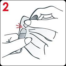 Rozlomte ampuli oběma rukama pomocí papírového kapesníku.