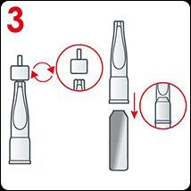 Na otevřenou ampuli nasaďte plastový aplikátor.